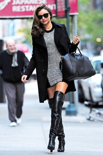 With black and gray fitted mini dress, black tote bag and black coat