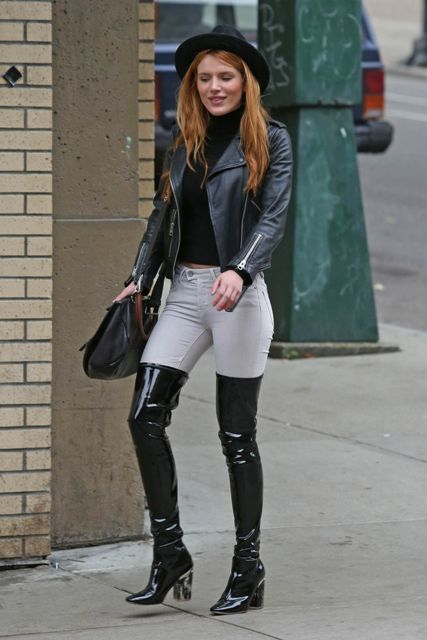 With Leather Over The Knee Boots