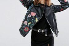 With black lace mini dress and black belt