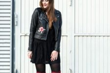 With black lace mini dress and marsala over the knee boots