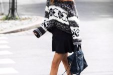 With black mini skirt, bag, ankle strap high heels and cap