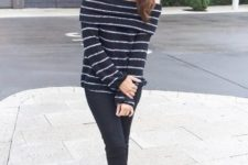 With black straight trousers and black pumps