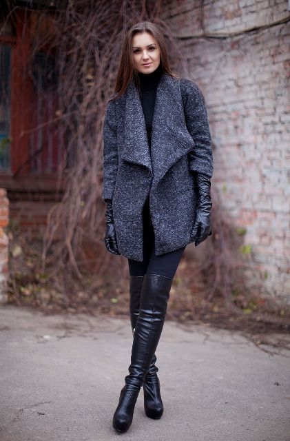 With black turtleneck, skinny jeans and gray jacket
