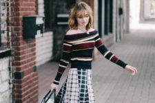 With checked midi skirt, three colored bag and flats