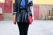 With denim shirt, tweed blazer, red bag and platform lace up boots