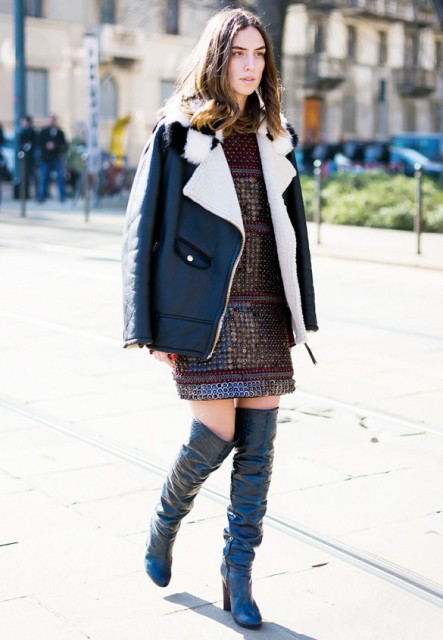 With embellished dress and jacket