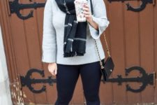 With gray jacket, plaid scarf, chain strap mini bag, leggings and boots