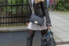 With gray mini dress, black leather jacket, chain strap bag and tote bag