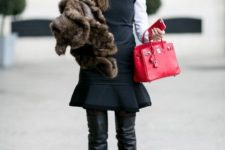 With hat, white blouse, trumpet dress, red small bag and fur jacket