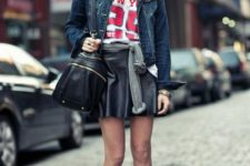 With labeled t-shirt, denim jacket, bag and cutout boots
