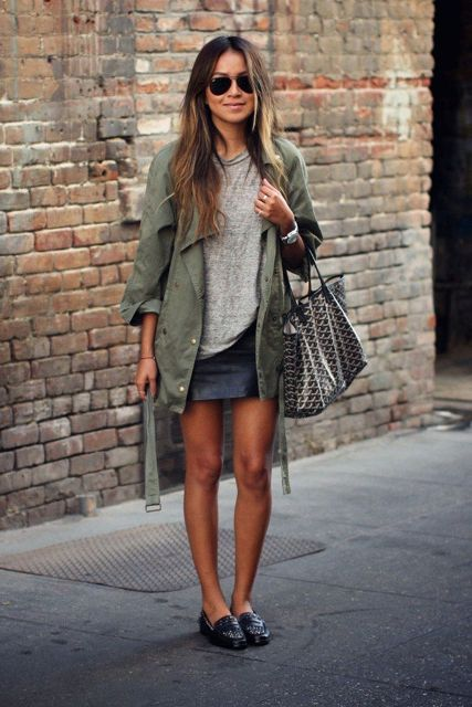 With leather skirt, printed tote, loose shirt and olive green jacket