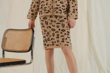 With leopard pencil skirt and white ankle boots