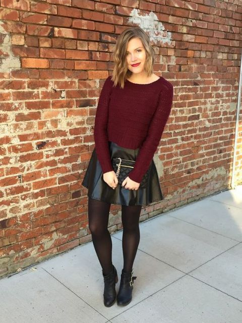 With marsala sweater, black clutch and black ankle boots