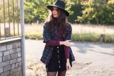 With marsala turtleneck, plaid button down shirt, black mini skirt and black ankle boots