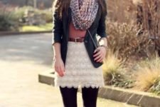 With pink shirt, printed scarf, black blazer, brown belt, crossbody bag, black tights and black lace up boots