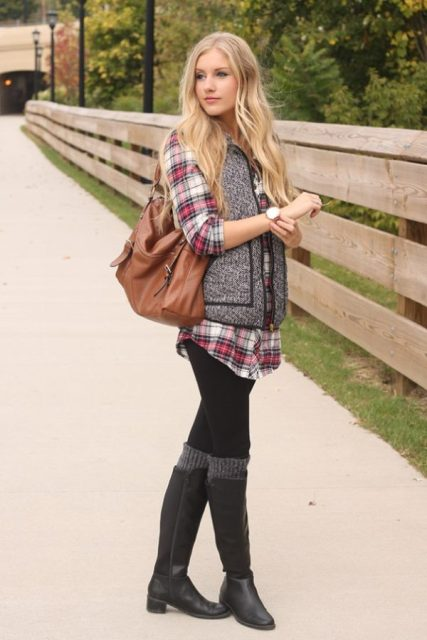 With plaid loose shirt, brown leather bag, black leggings and black high boots