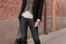 With polka dot blouse, black blazer, jeans, black bag and black shoes