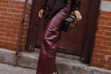 With polka dot blouse, clutch and black embellished shoes