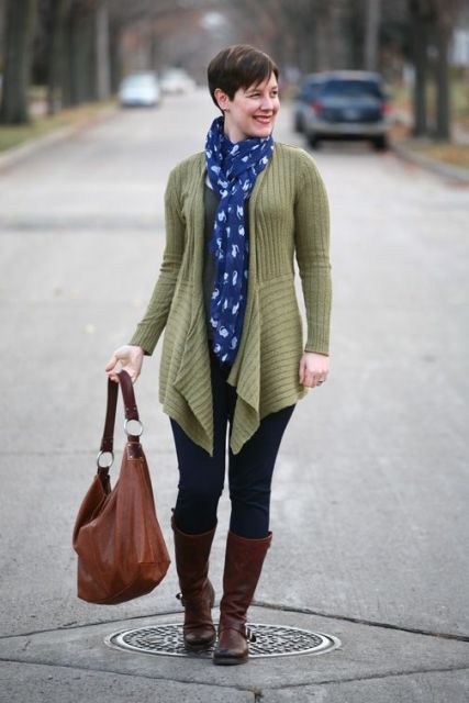 With printed scarf, jeans, brown tote bag and brown high boots