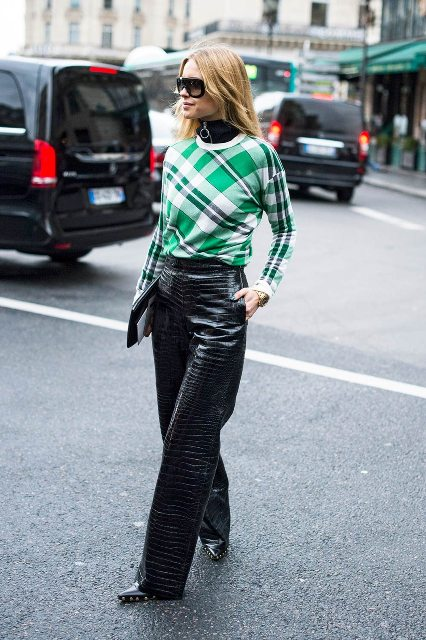 With printed shirt, clutch and boots