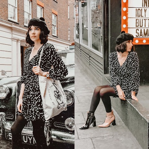 With printed wrapped mini dress, two colored ankle boots and tote bag
