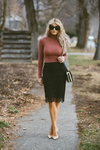 With sunglasses, turtleneck, beige pumps and small bag