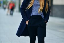 With t-shirt, navy blue coat and cuffed pants