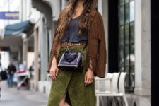With top, green wrapped skirt, crossbody bag and suede fringe jacket