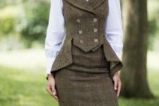 With white blouse and tweed pencil knee-length skirt