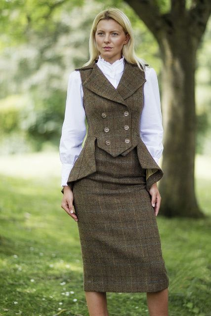 With white blouse and tweed pencil knee length skirt