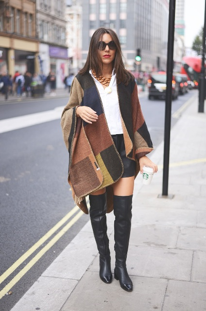 a great look with a plaid poncho