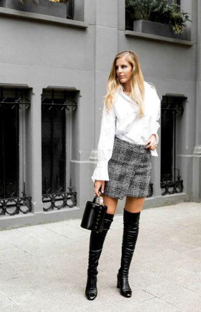 With white loose blouse, plaid wrapped mini skirt and black mini bag