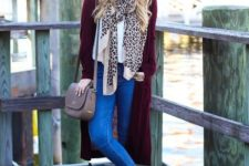 With white shirt, marsala long cardigan, beige bag, leopard scarf, skinny jeans and black ankle boots