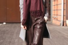 With white shirt, marsala scarf, gray coat and black flat shoes