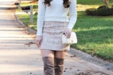 With white sweater, tweed mini skirt, white small bag and gray over the knee suede boots