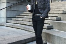 a black tee, black skinnies, black trainers and a navy denim jacket plus layered necklaces