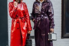 a purple and a red lacquer leather trench are super bold options to make a statement this fall