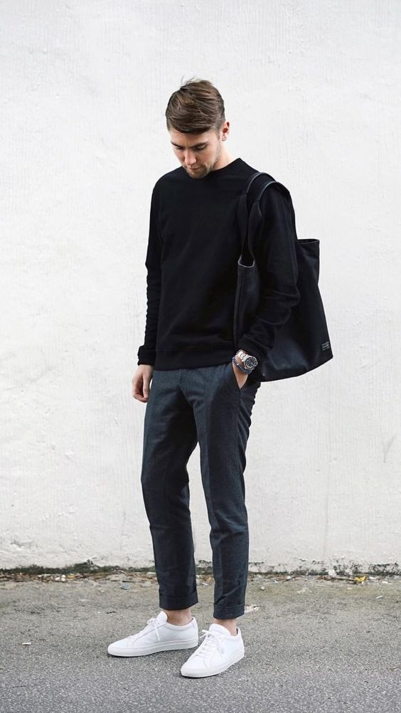 a simple look with grey pants, a black sweater, white sneakers and a black tote for the fall