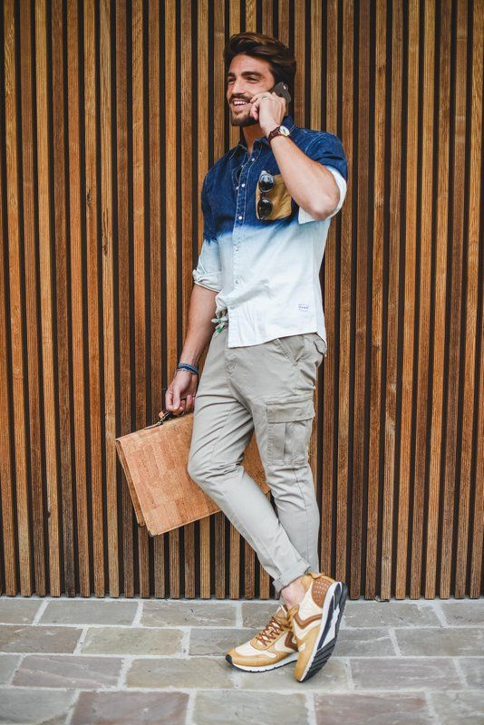 neutral cargo pants, an ombre denim shirt, tan trainers and a matching bag for a creative look
