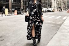 02 a black floral maxi dress, black combat boots, a black bag and a black leather jacket for a trendy outfit