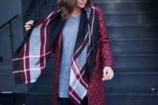 02 a burgundy quilted coat of a knee length is a color statement and is very comfy for fall