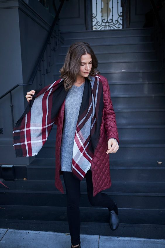 a burgundy quilted coat of a knee length is a color statement and is very comfy for fall