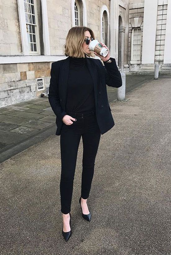 a total black office outfit