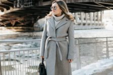 02 a warm grey robe coat is a gorgeous piece to wear in winter, prefer wool to feel cozy and warm