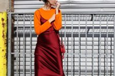 02 an orange jumper, a burgundy silk knee slip dress, bold shoes for a trendy and colorful fall outfit