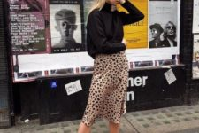 03 a black turtleneck, an animal print skirt and black combat boots – that animal print will bring an edge