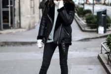 03 a casual outfit with a white sweater, black skinnies, brown belted booties and a black aviator coat