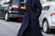 03 a stylish woolen navy wrap coat of a midi length is a gorgeous and timeless piece to wear year after year