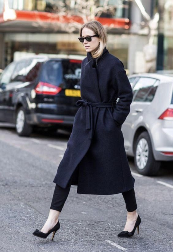 a stylish woolen navy wrap coat of a midi length is a gorgeous and timeless piece to wear year after year