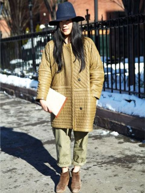 an oversized tan quilted coat with pockets is a stylish idea for both fall and winter